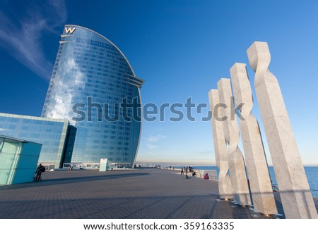 BARCELONA, SPAIN - NOVEMBER 10, 2015: W Barcelona Hotel, also known as the Hotel Vela (Sail Hotel) on November 10, 2014 in Barcelona, Spain. Designed by Architect Ricardo Bofill it is 170 meters high  - stock photo
