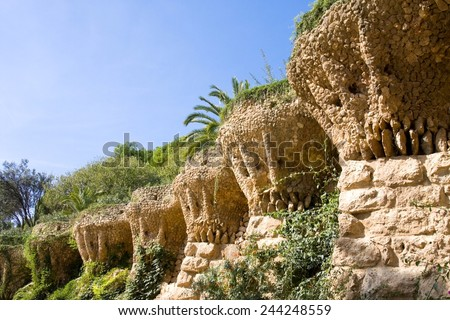 BARCELONA, SPAIN - OCT 19,2014:Architectural detail of the Promenade of the Palms (Passeig de les Palmeres) in the famous Park Guell of Barcelona - Spain. Architect Antoni Gaudi (1852-1926)