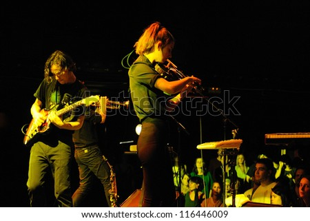 BARCELONA, SPAIN - OCT 14: Fanfarlo band performs at Apolo on October 14, 2012 in Barcelona. - stock photo