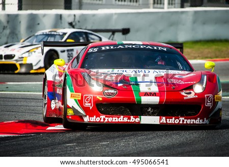 Barcelona, Spain - October 2, 2016: AF Corse Team at Blancpain GT Series at Circuit de Barcelona Catalunya.
