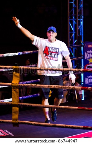 BARCELONA, SPAIN - OCTOBER 15: Cesar Cordoba, the World Champion of Muay Thai, during the fight4life event, on October 15, 2011, in Barcelona, Spain.