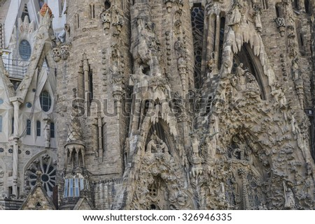 BARCELONA, SPAIN - OCTOBER 08, 2015: Close up details of La Sagrada Familia Cathedral that is masterpiece of architect Antoni Gaudi, UNESCO World Heritage Site in Barcelona, Spain.  - stock photo