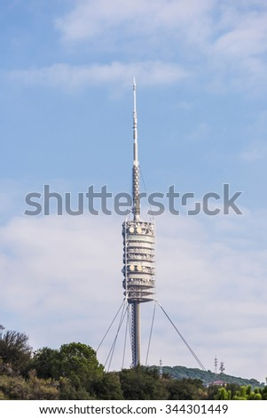 Barcelona, Spain - October 17, 2015: Collserola Tower is a telecommunications tower designed by Norman Foster in Barcelona, Catalonia, Spain