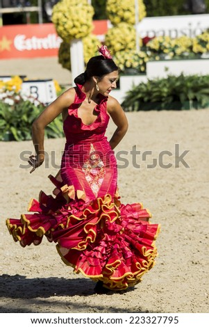 BARCELONA, SPAIN - OCTOBER 11: Flamenco Equestrian Exhibition at the 103rd CSIO event at the Real Club de Polo Barcelona, on October 11, 2014, in Barcelona, Spain.