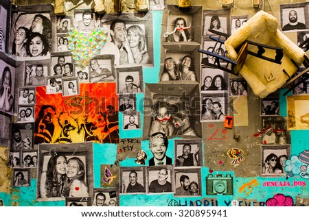BARCELONA, SPAIN - OCTOBER 13: Gothic quarter, graffiti on a house wall on October 13, 2013 in Barcelona. - stock photo