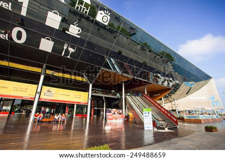 BARCELONA, SPAIN - OCTOBER 30: Maremagnum popular shopping centre at Port Vell area in October, 30, 2014 in Barcelona, Spain - stock photo