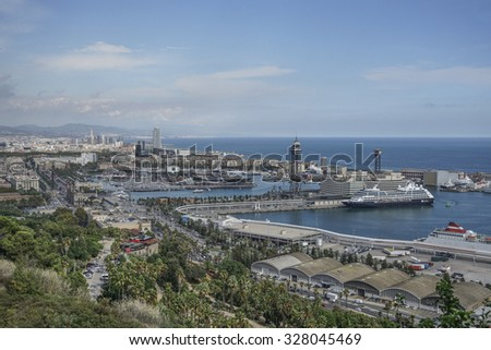 BARCELONA, SPAIN - OCTOBER 08, 2015: Panoramic view of Barcelona with the Port and sea. Daytime view from Montjuic hill in Barcelona, Spain.