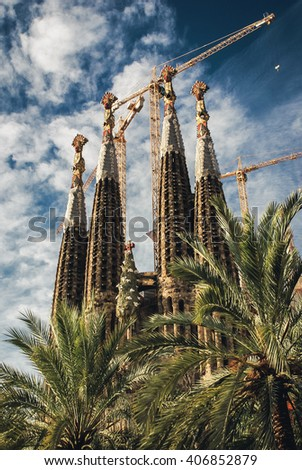 BARCELONA, SPAIN - OCTOBER 23, 2009: The famous Sagrada Familia, a cathedral designed by Antonio Gaudi, still under construction. - stock photo