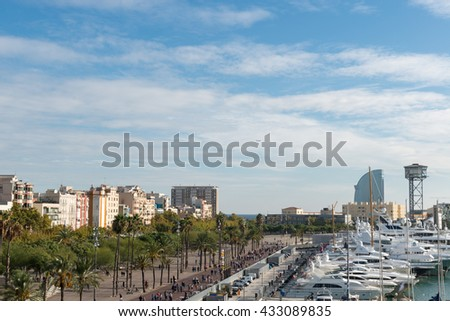 BARCELONA, SPAIN - OCTOBER 23, 2015: Yachts in Port Vell