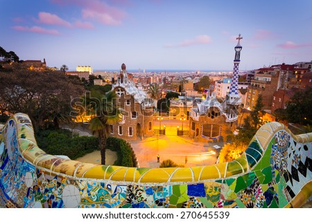 BARCELONA, SPAIN, 05.04.2015 - Parc Guell at sunset. The Park Guell  is a public park designed and created by modernist architect Antoni Gaudi and it's one of the landmark of the city. - stock photo