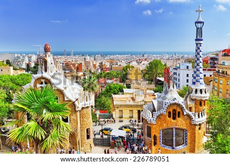 BARCELONA, SPAIN - SEPT 02,2014:Gorgeous and amazing Park Guel in Barcelona. Declared UNESCO by the World heritage of mankind. Park Guell is the famous architectural town art designed by Antoni Gaudi. - stock photo