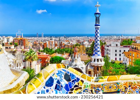 BARCELONA, SPAIN - SEPT 02,2014 :Gorgeous and amazing Park Guel in Barcelona. Park Guell (1914) is the famous architectural town art designed by Antoni Gaudi.