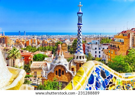 BARCELONA, SPAIN - SEPT 02,2014 :Gorgeous and amazing Park Guel in Barcelona.. Park Guell (1914) is the famous architectural town art designed by Antoni Gaudi. Event September 02, 2014 in Barcelona