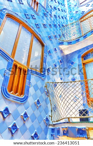 BARCELONA, SPAIN - SEPT  04, 2014: Interior and inner chambers Gaudi's  creation house Casa Batlo. Casa Batllo was built in 1877 by Antoni Gaudi. September 04, 2014 in Barcelona, Spain. - stock photo