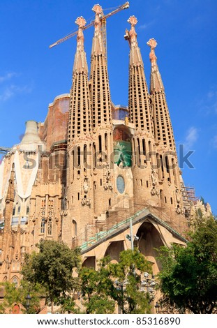 BARCELONA, SPAIN - SEPT 14: La Sagrada Familia - impressive cathedral designed by Gaudi, which is being build since 19 March 1882 and is not finished yet September 14, 2011 in Barcelona, Spain - stock photo