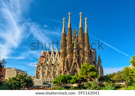 Barcelona, Spain - September 24, 2015: Cathedral of La Sagrada Familia. It is designed by architect Antonio Gaudi and is being build since 1882. - stock photo
