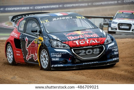 BARCELONA, SPAIN - SEPTEMBER 17, 2016: Davy Jeanney at FIA World Rallycross Championship at Circuit de Barcelona-Catalunya.