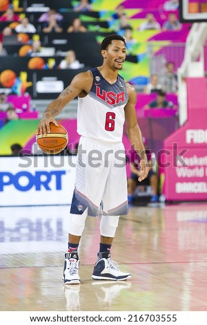 BARCELONA, SPAIN - SEPTEMBER 11: Derrick Rose of USA in action at FIBA World Cup basketball match between USA Team and Lithuania, final score 96-68, on September 11, 2014, in Barcelona, Spain. - stock photo