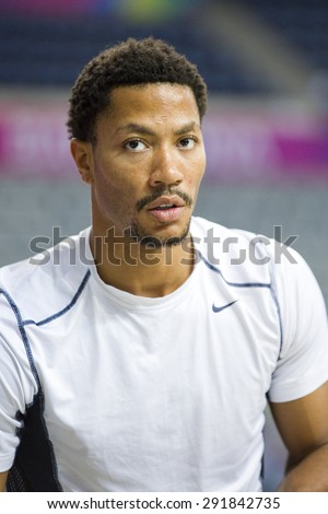 BARCELONA, SPAIN - SEPTEMBER 6: Derrick Rose of USA Team in action at FIBA World Cup basketball match between USA and Mexico, final score 86-63, on September 6, 2014, in Barcelona, Spain.