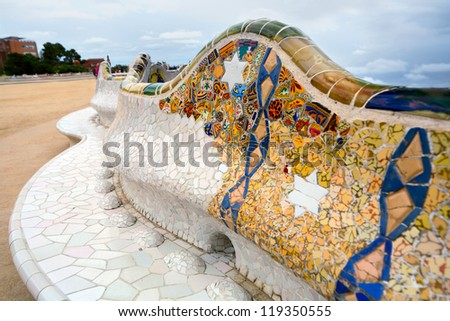 "BARCELONA,SPAIN-SEPTEMBER 27: Detail of the bench in the park Guell, designed by Antonio Gaudi, on September 27, 2012 in Barcelona. Part of the UNESCO World Heritage Site ""Works of Antonio Gaudi"". - stock photo"