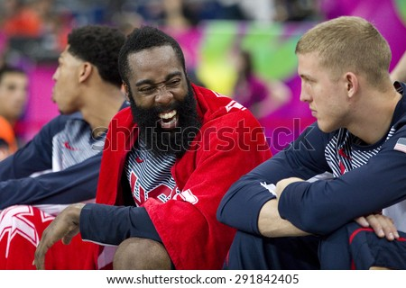 BARCELONA, SPAIN - SEPTEMBER 6: James Harden of USA Team in action at FIBA World Cup basketball match between USA and Mexico, final score 86-63, on September 6, 2014, in Barcelona, Spain. - stock photo