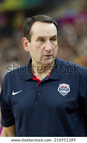 BARCELONA, SPAIN - SEPTEMBER 6: Mike Krzyzewski, coach of USA, at FIBA World Cup basketball match between USA and Mexico, final score 86-63, on September 6, 2014, in Barcelona, Spain. - stock photo