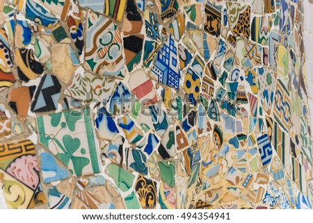 BARCELONA, SPAIN - SEPTEMBER 26, 2015: Mosaic II in Park Guell by Antoni Gaudi Barcelona Spain