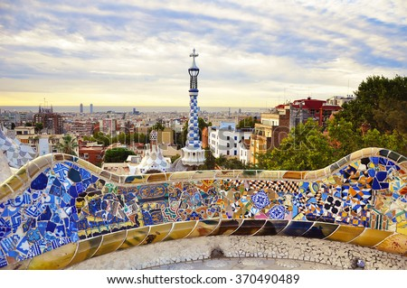 BARCELONA, SPAIN, SEPTEMBER 17, 2015: Park Guell designed by Antoni Gaudi in Barcelona in the morning sunrise, Spain