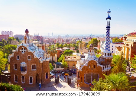 BARCELONA, SPAIN - SEPTEMBER 13,2013: Park Guell . The park was built between 1900 and 1914 and is part of the UNESCO World Heritage Site Works of Antoni Gaudi