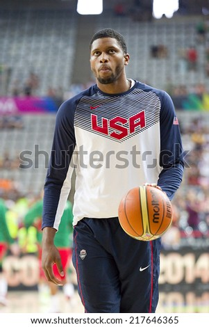 BARCELONA, SPAIN - SEPTEMBER 6: Rudy Gay of USA Team at FIBA World Cup basketball match between USA and Mexico, final score 86-63, on September 6, 2014, in Barcelona, Spain. - stock photo