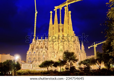 BARCELONA, SPAIN - SEPTEMBER 02: Sagrada Familia,beautiful and majestic  outdoor  view on September 02, 2014 in Barcelona, Spain. Designed by Antoni Gaudi. - stock photo