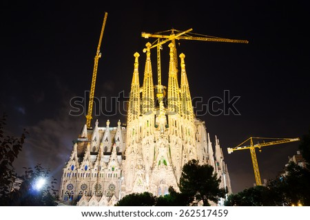 BARCELONA, SPAIN - SEPTEMBER 13, 2014: Sagrada Familia in dark time. Barcelona.