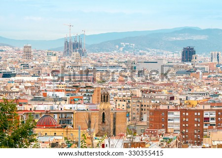 Barcelona, Spain - September 4, 2015: Sagrada Familia - the cathedral designed by Gaudi. Beginning in 1882, construction completion scheduled in 2026 was one of the main tourist attractions of - stock photo