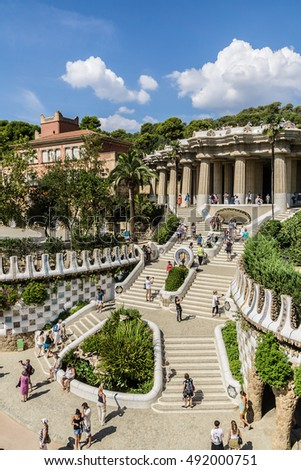 BARCELONA, SPAIN - SEPTEMBER 11, 2016: The staircase at the entrance of the park and Pavilions designed by Antoni Gaudi in Parc Guell.