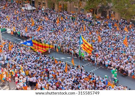 BARCELONA, SPAIN - SEPTEMBER 11: The Via Lliure is the wave of hope that leads Catalans to the independence from Spain. September 11, 2015 in Barcelona, Spain  - stock photo