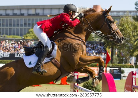 BARCELONA, SPAIN - SEPTEMBER 25: Unidentified rider at the 100th CSIO event at the Real Club de Polo Barcelona, on September 25, 2011, in Barcelona, Spain.