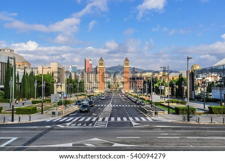 BARCELONA, SPAIN - SEPTEMBER 10, 2016: View of Avenue Queen Maria Christina in Sants-Montjuic district, linking Plaza Espana with National Art Museum of Catalonia.