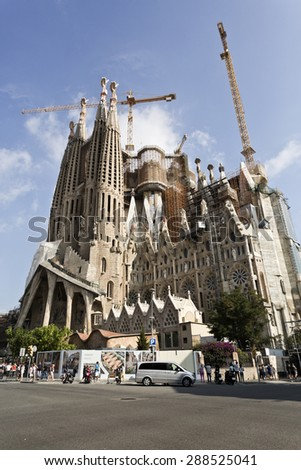 BARCELONA, SPAIN - SEPTEMBER 13, 2014: View of the Passion Facade of the Basilica of the Sagrada Familia in Barcelona, Spain - stock photo