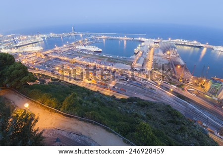 BARCELONA, SPAIN - SEPTEMBER 28, 2011: wide view of Port of Barcelona. Photo taken from Montjuic hill in Barcelona, Spain on September 28, 2011.  - stock photo