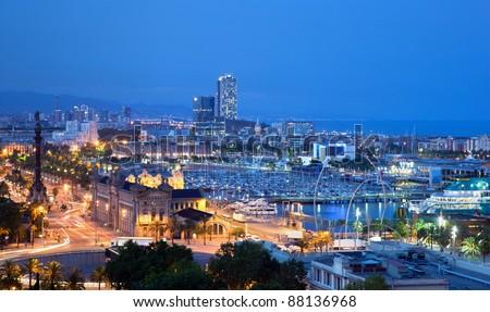 Barcelona, Spain skyline at night. Horbor view - stock photo
