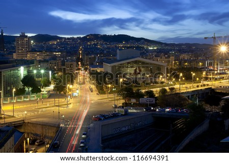 Barcelona, Spain skyline at night. View at National Theater of Catalonia - stock photo