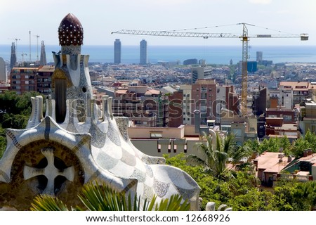 Barcelona, Spain, view at the town from park Quell - stock photo