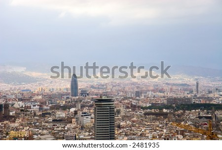Barcelona. View on city from eminence.