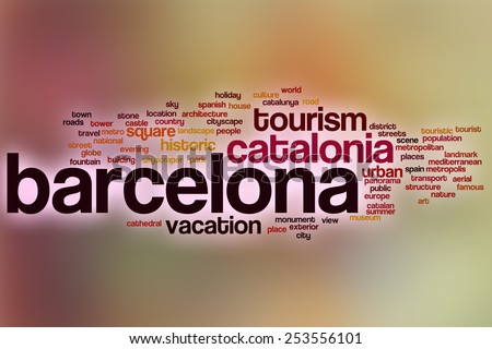 Barcelona word cloud concept with abstract background - stock photo