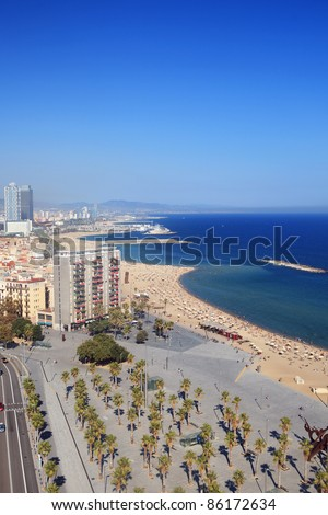 Barceloneta district and beach of Barcelona, Spain