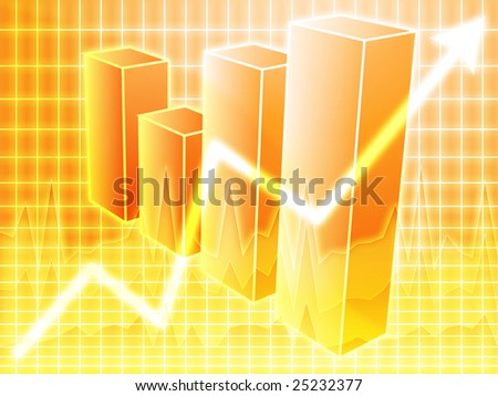 Barchart and upwards line graph financial diagram - stock photo
