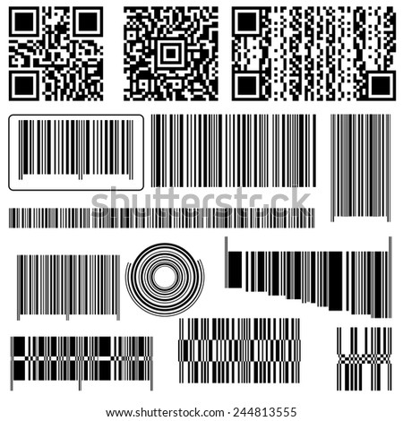 BARCODE AND QR CODE - stock photo