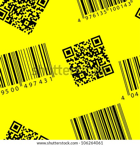 Barcode and qr-code. Seamless  wallpaper. - stock photo
