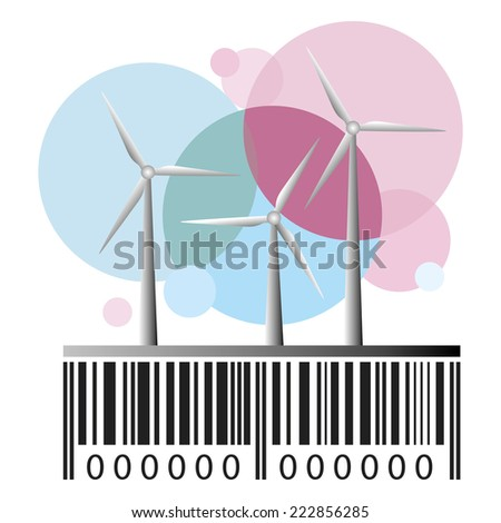 Barcode and wind power stations - stock photo