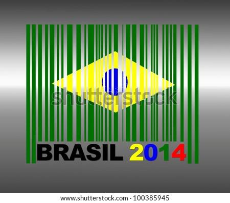 Barcode Brasil 2014. - stock photo
